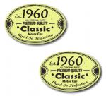 PAIR Distressed Aged Established 1960 Aged To Perfection Oval Design Vinyl Car Sticker 70x45mm Each